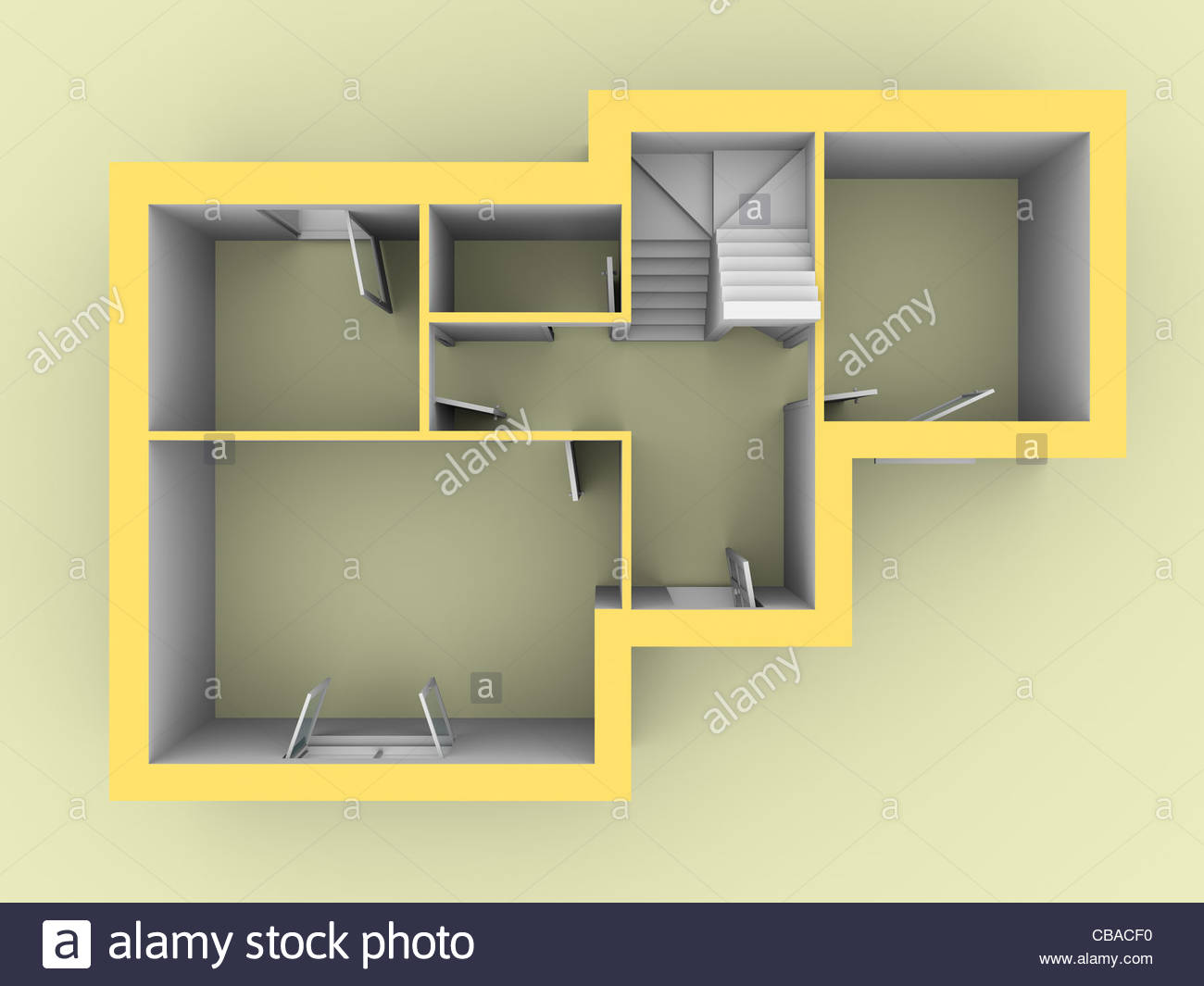 3d model of a house as seen from top view. Doors and windows are open Stock Foto
