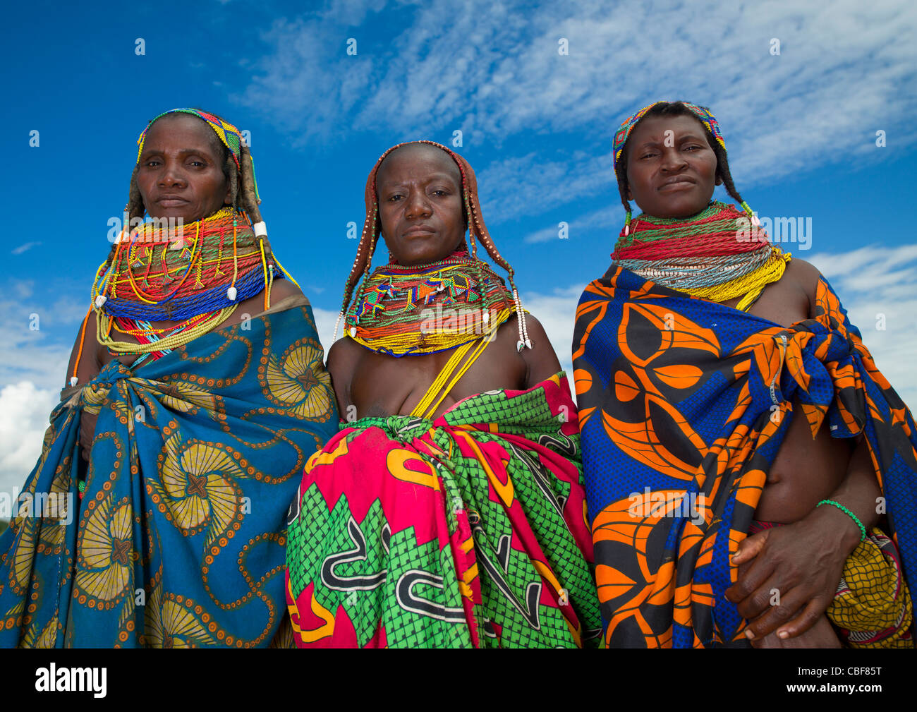 Mwila Women With Togas, Chibia Area, Angola Stock Foto