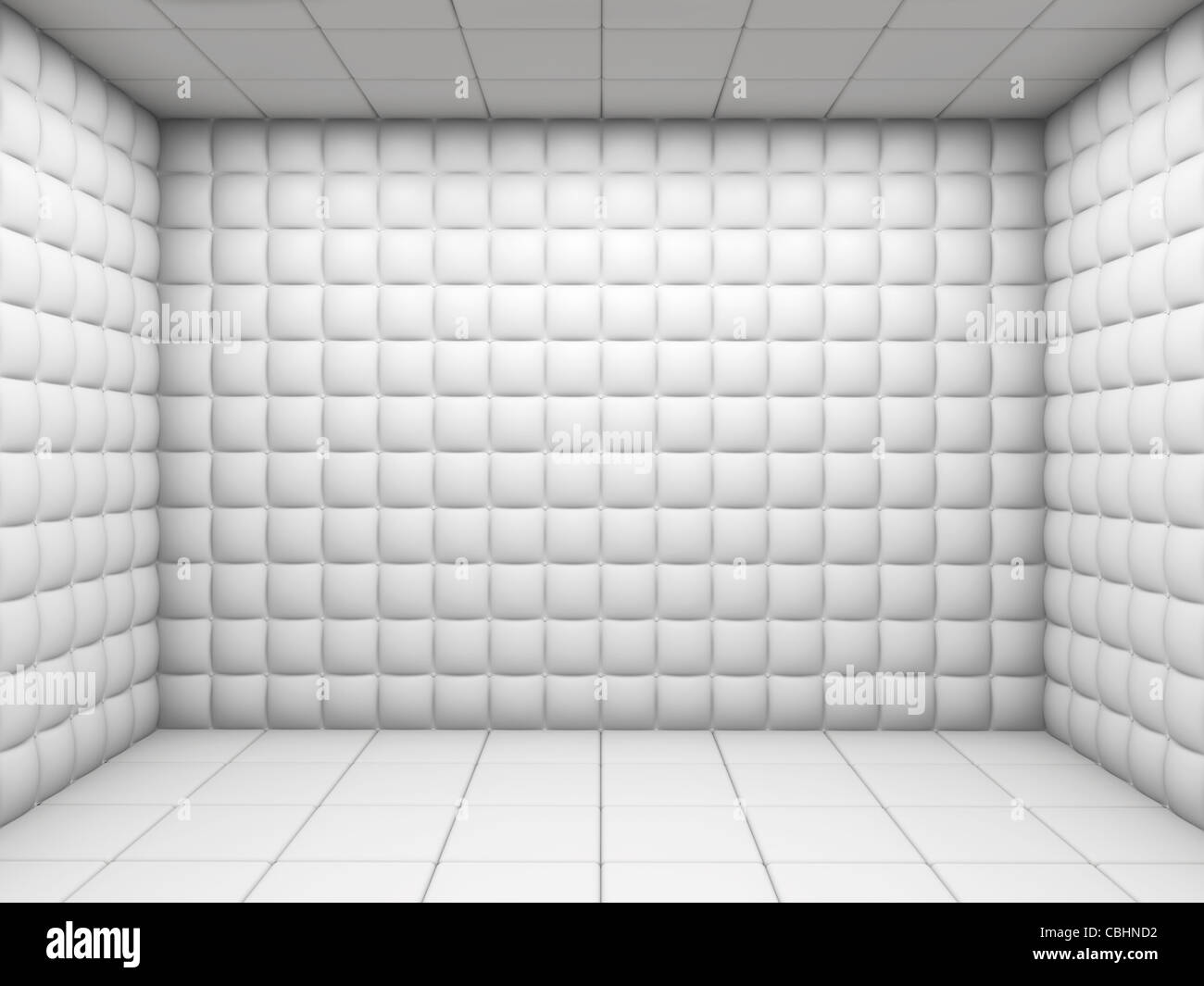 white mental hospital padded room empty with copy space Stock Foto