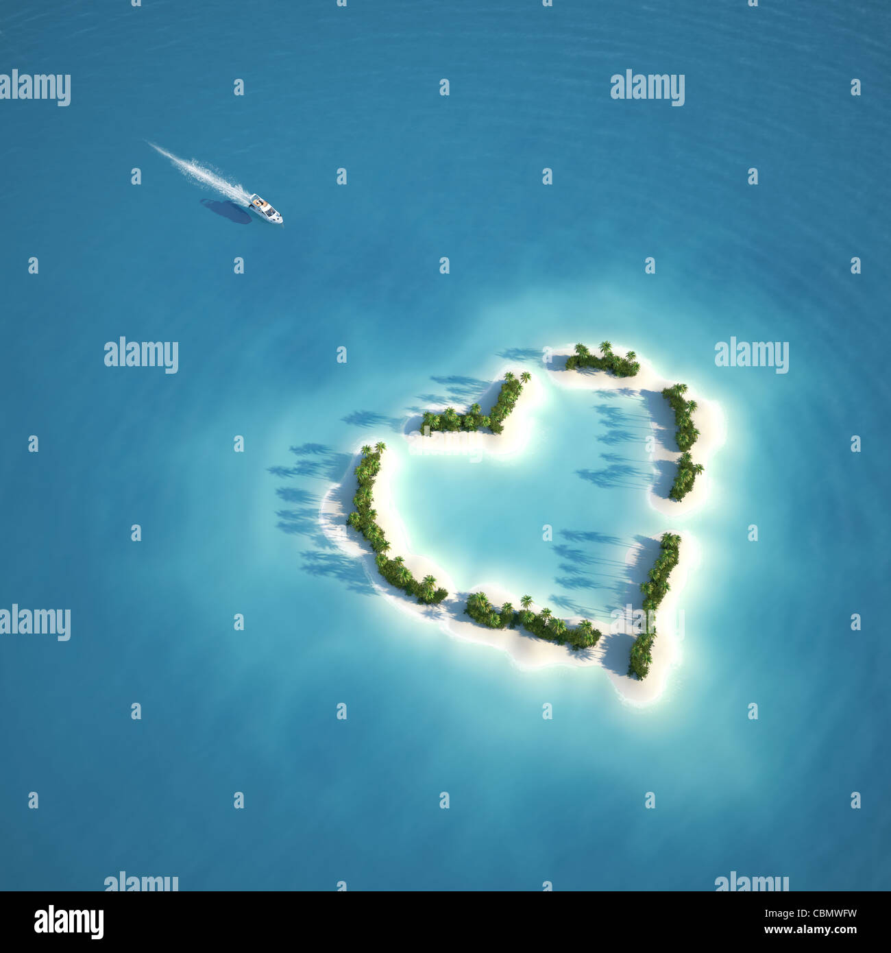 yacht heading to heart shaped island seen from the air concept for romantic vacation or valentines Stock Foto
