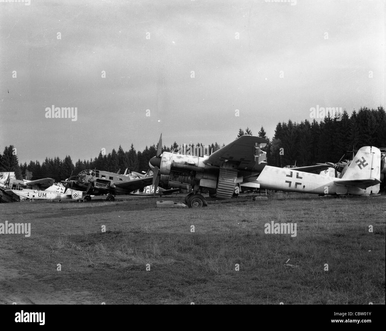 crashed and captured nazi planes in germany during WWII Stock Photo