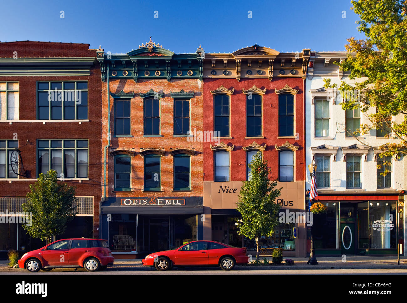 Business Buildings on Small American Town Main Street in ...