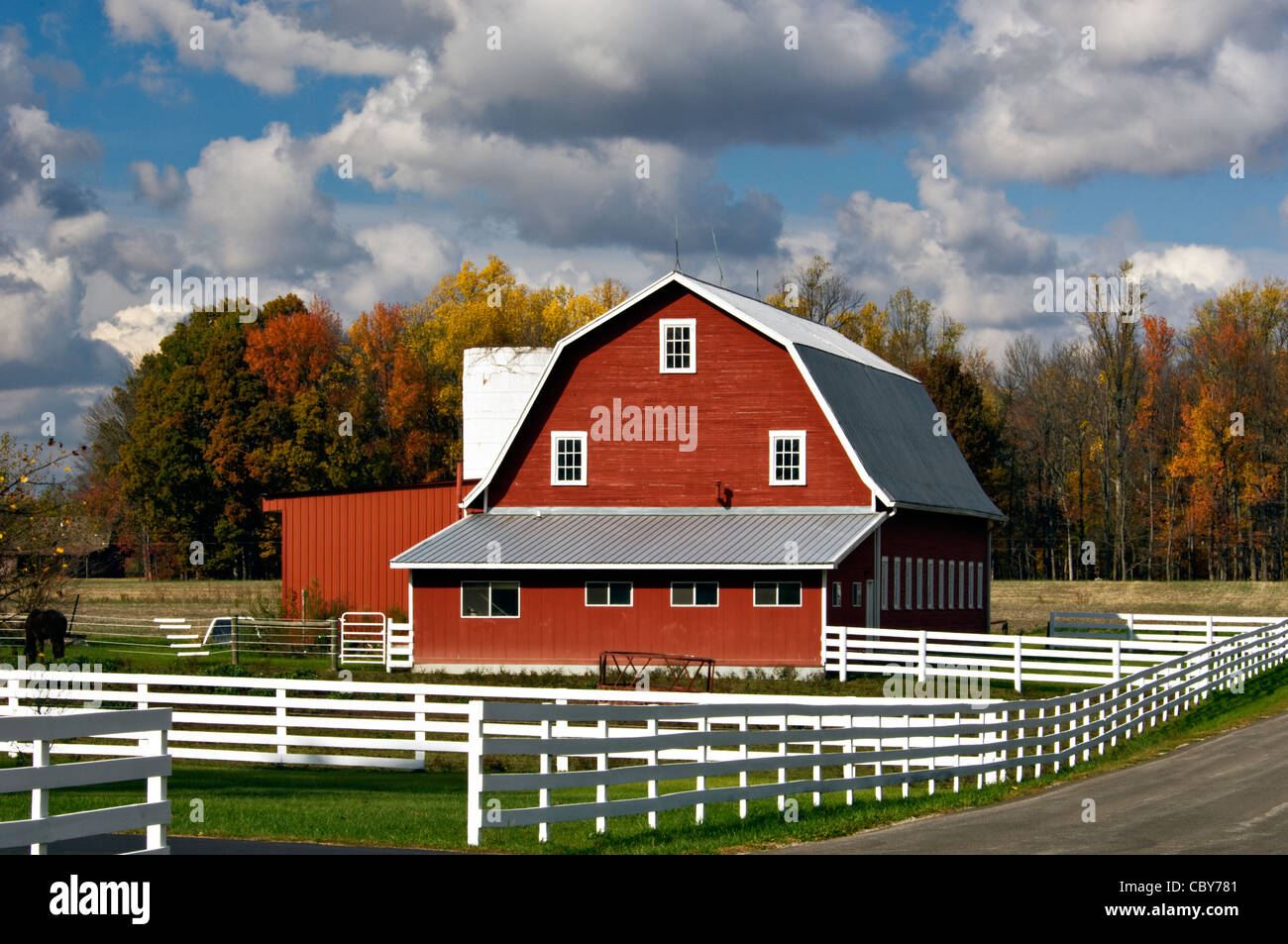 Gambrel Roof Pictures Red Barn White Fence And Autumn Color In Jennings County
