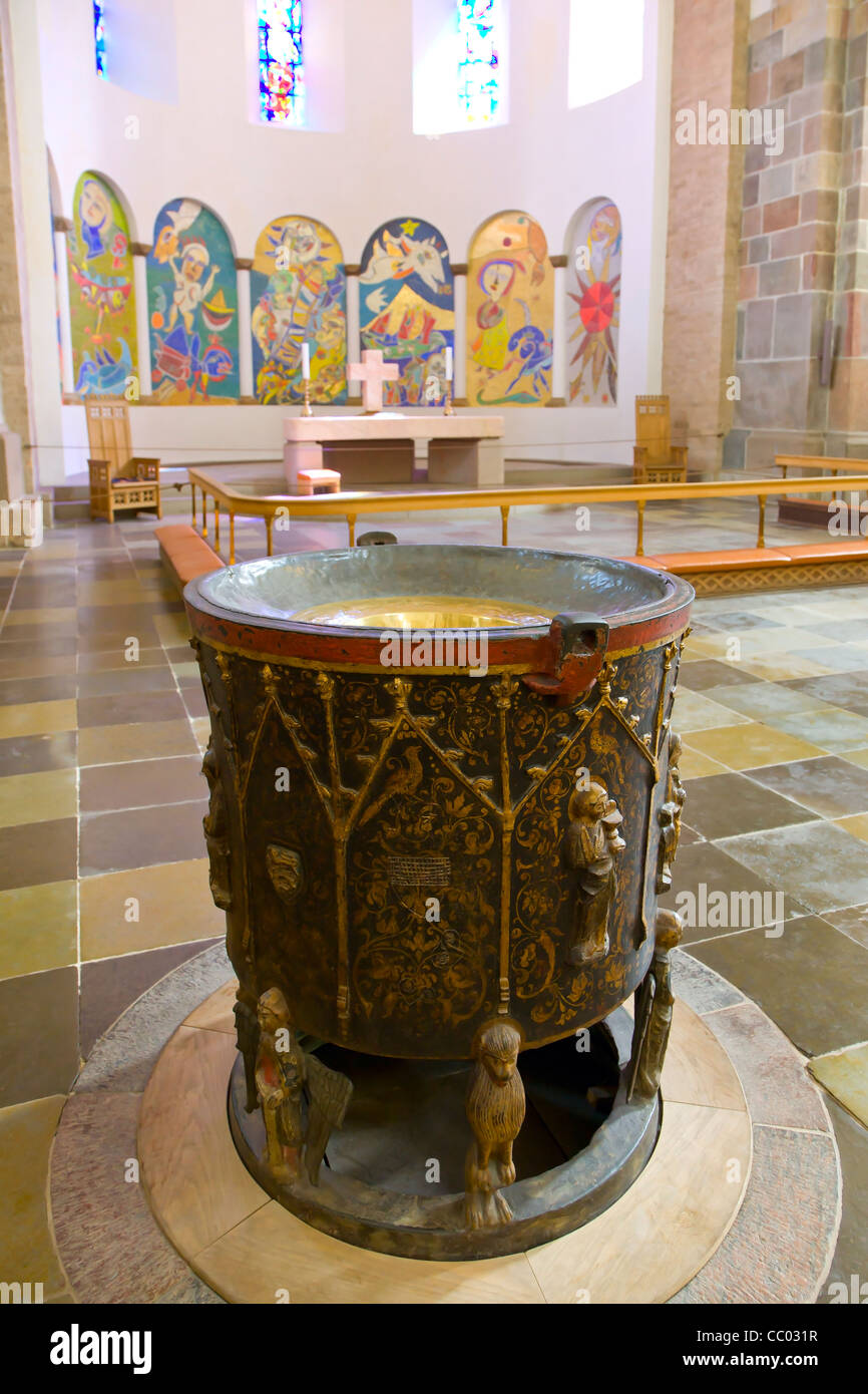 The baptismal font in Ribe cathedral Stock Photo