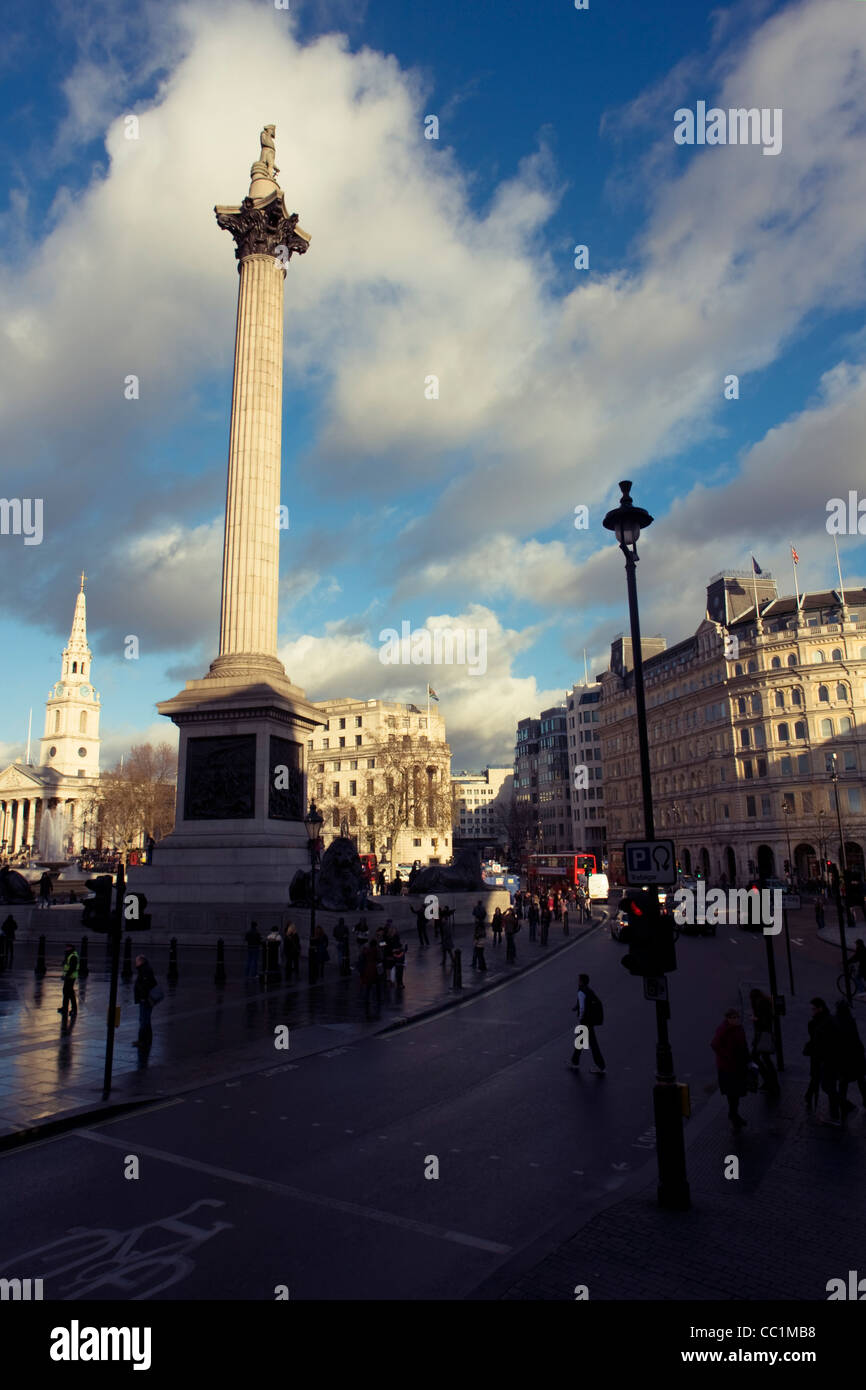 Nelson's Column monument in Trafalgar Square, central London, England, United Kingdom. Stock Photo
