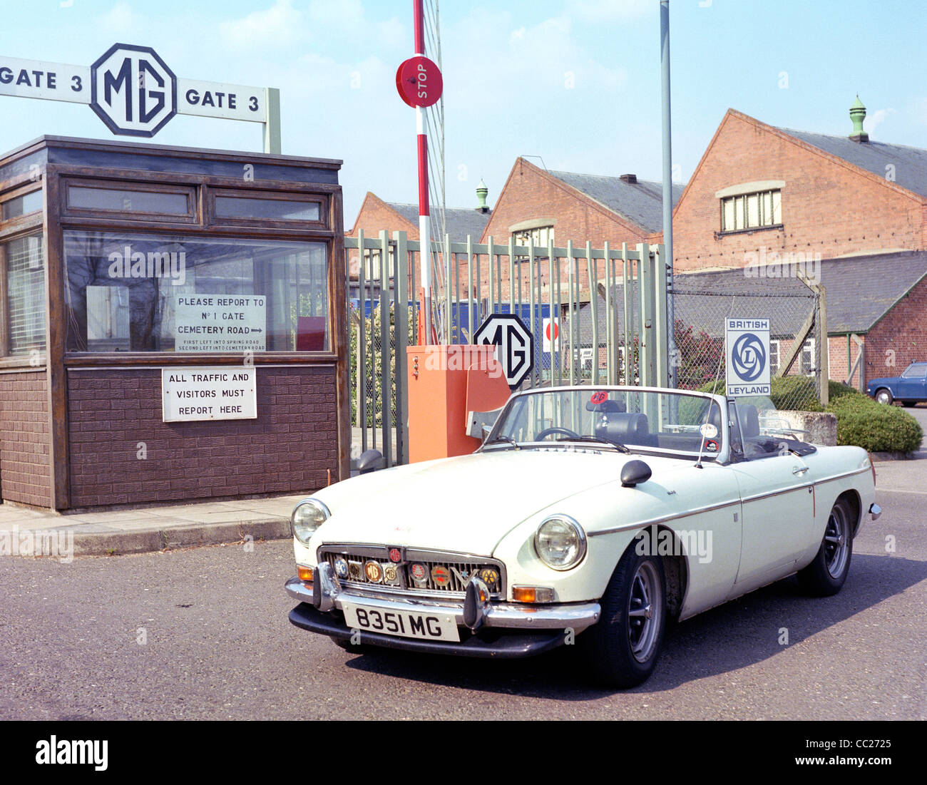 MGB Roadster sports car pictured outside the MG works factory in Abingdon Oxfordshire in 1978 Stock Photo