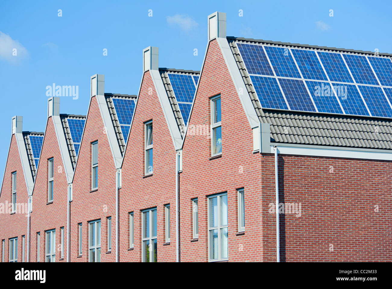 Modern Dutch Houses With Solar Panels On Roof Stock Photo