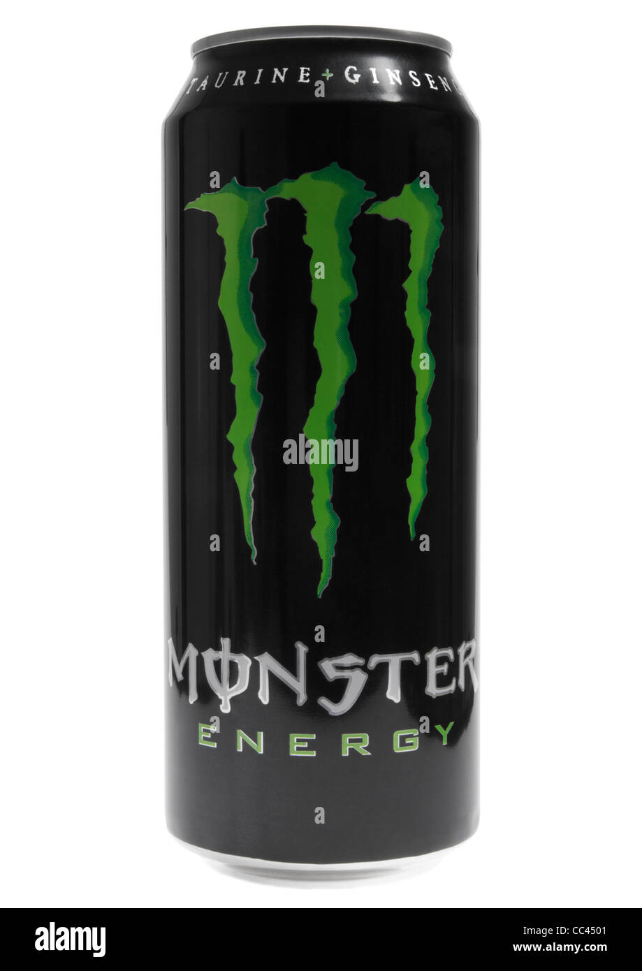 can of monster energy drink on white background stock