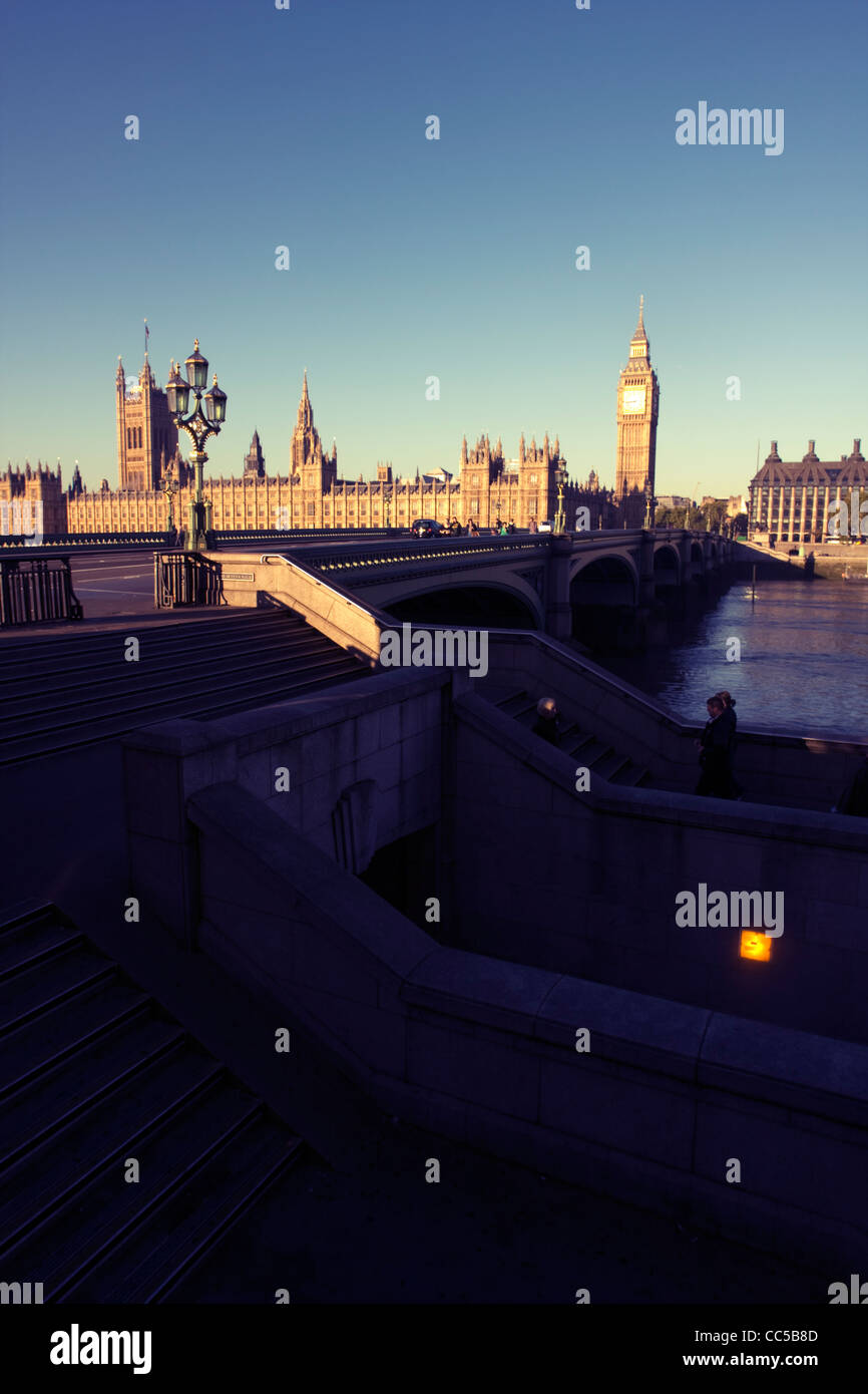 Westminster Bridge and Houses Of Parliament (Big Ben), London England Stock Photo