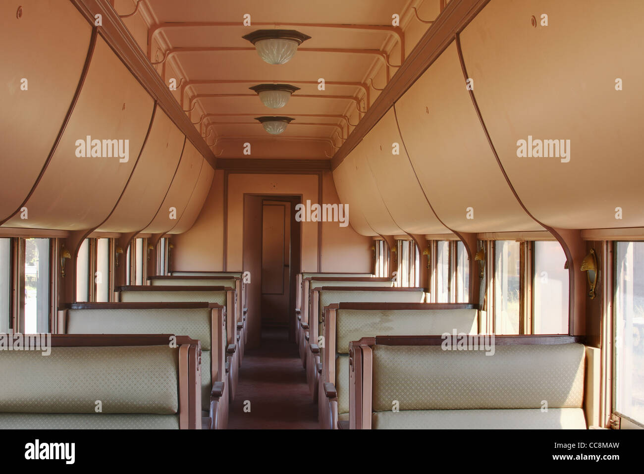 old pullman rail car interior the railway museum of greater stock photo royalty free image. Black Bedroom Furniture Sets. Home Design Ideas