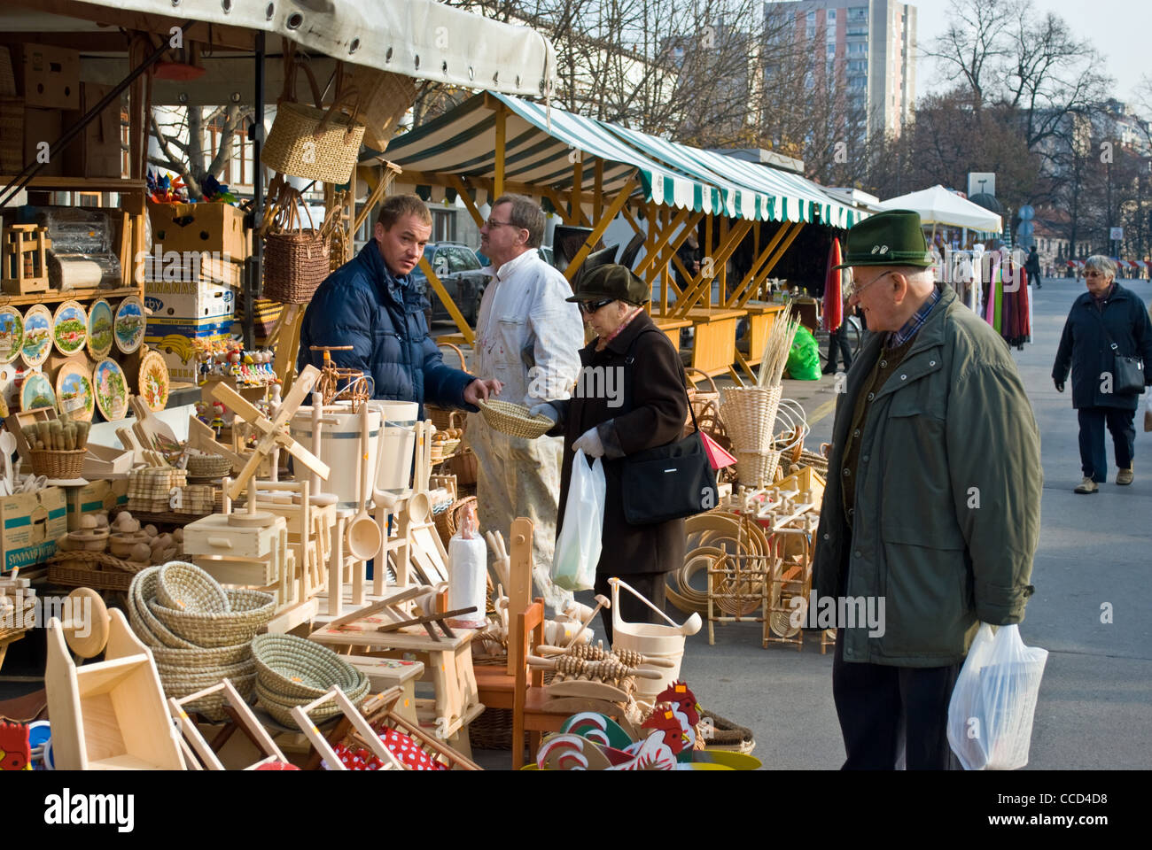 A vendor selling his craft wares at central market in for Crafts for selling at market