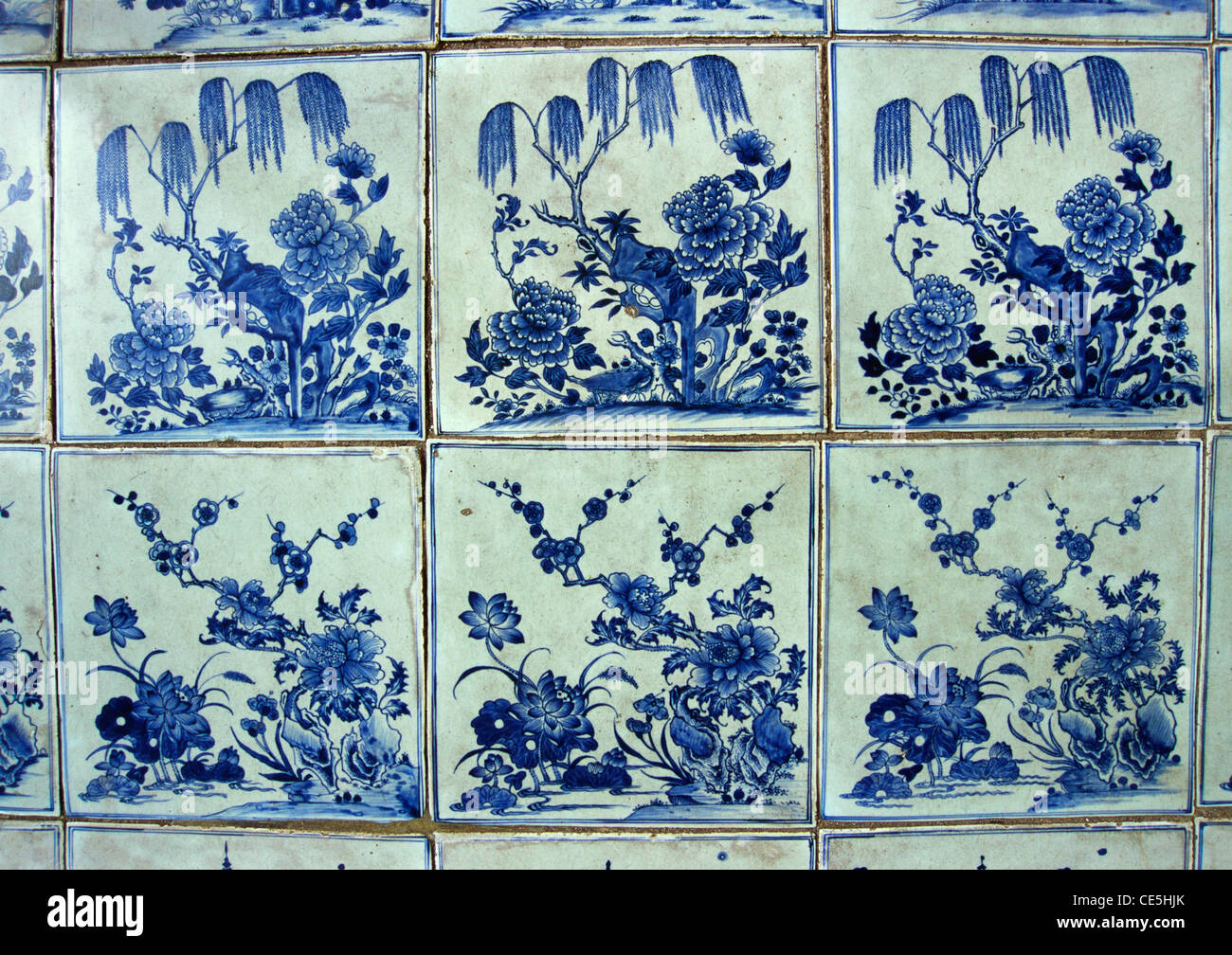 18th Century Hand Painted Willow Patterned Glazed Floor