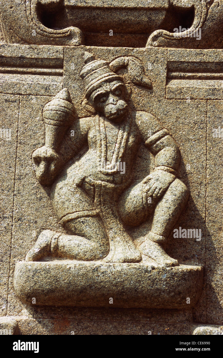 Monkey god hanuman stone carving on pillar government