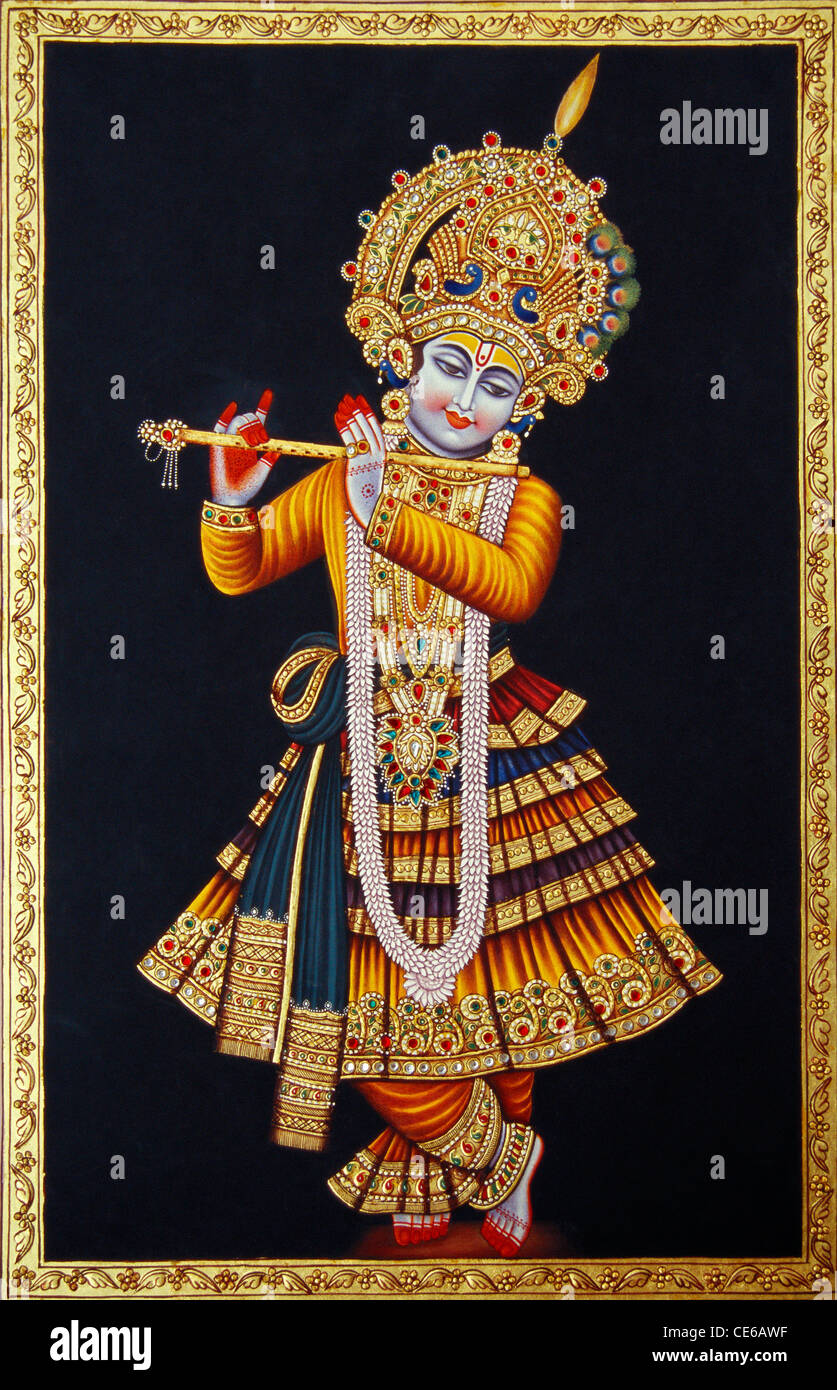 Lord Krishna playing flute miniature painting on paper ...
