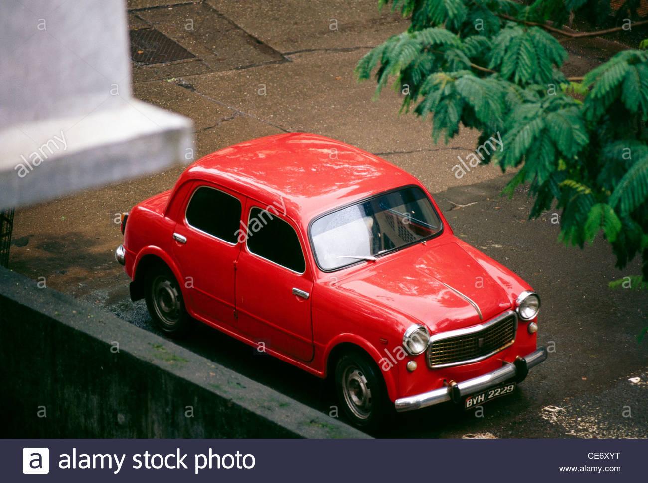 MAK 85583 : old antique indian car red fiat model 1960 ...