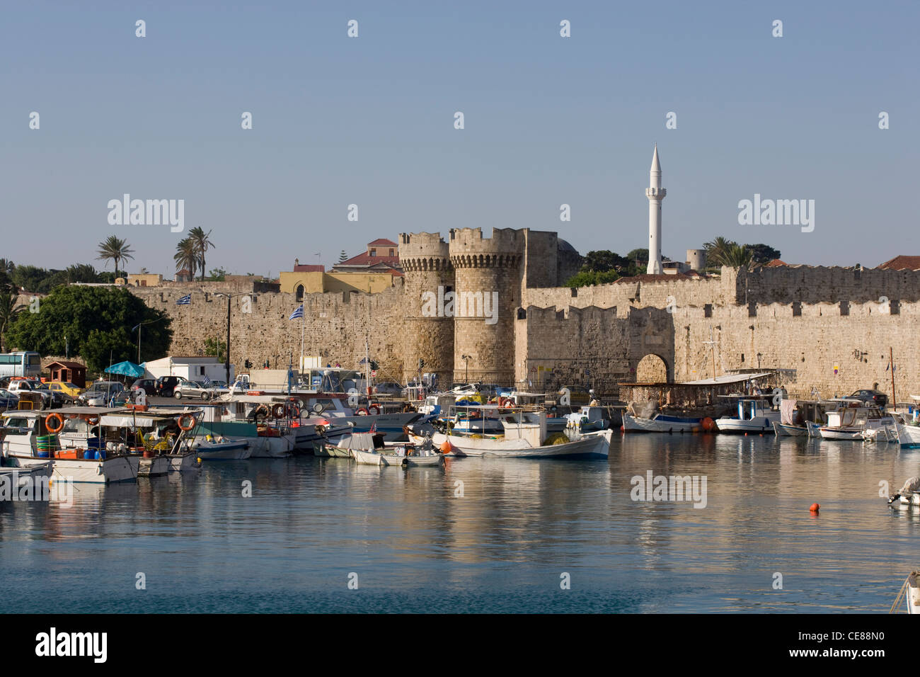 Rhodes Town: Old Town - Marine Gate & harbour Stock Photo ...