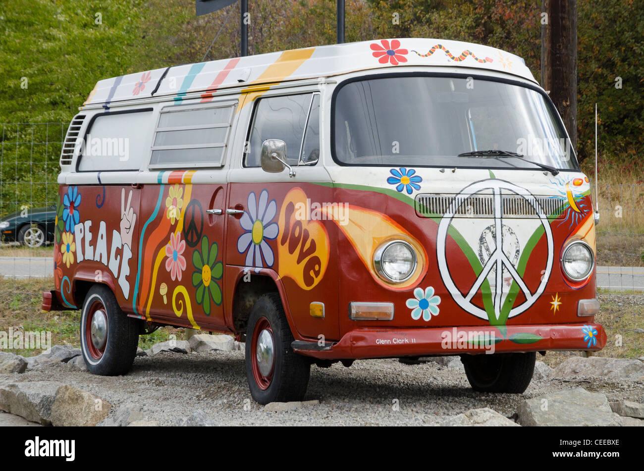 Painted Volkswagen Hippie Van Ruby Blue S Winery