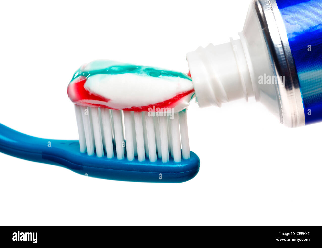 Tooth brush and toothpaste tube Stock Photo
