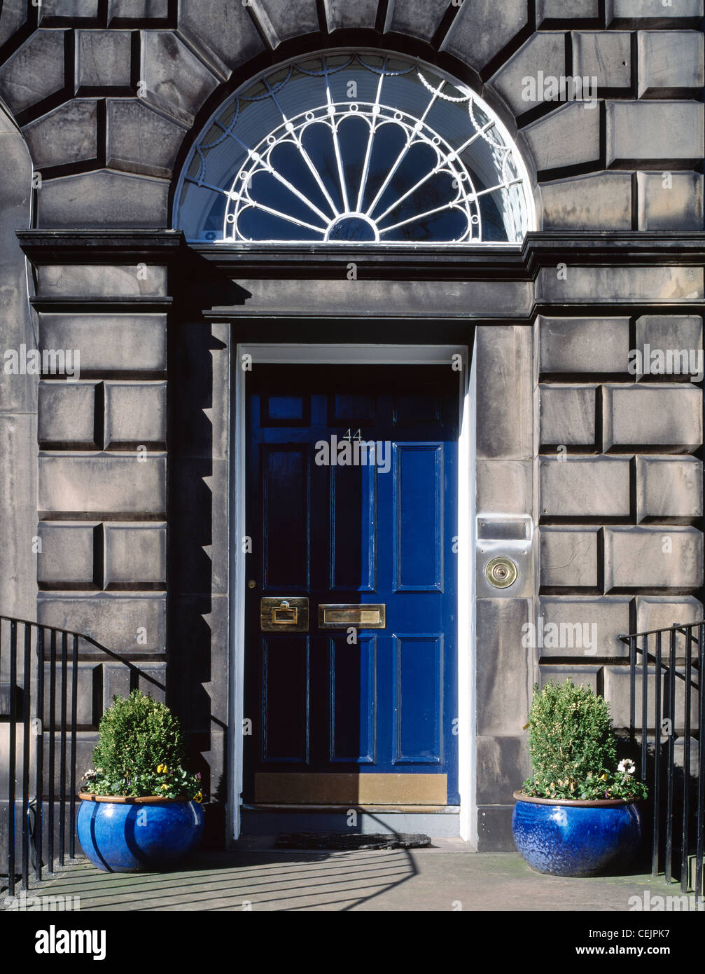 Blue Door And Fanlight Of A House In The New Town Of