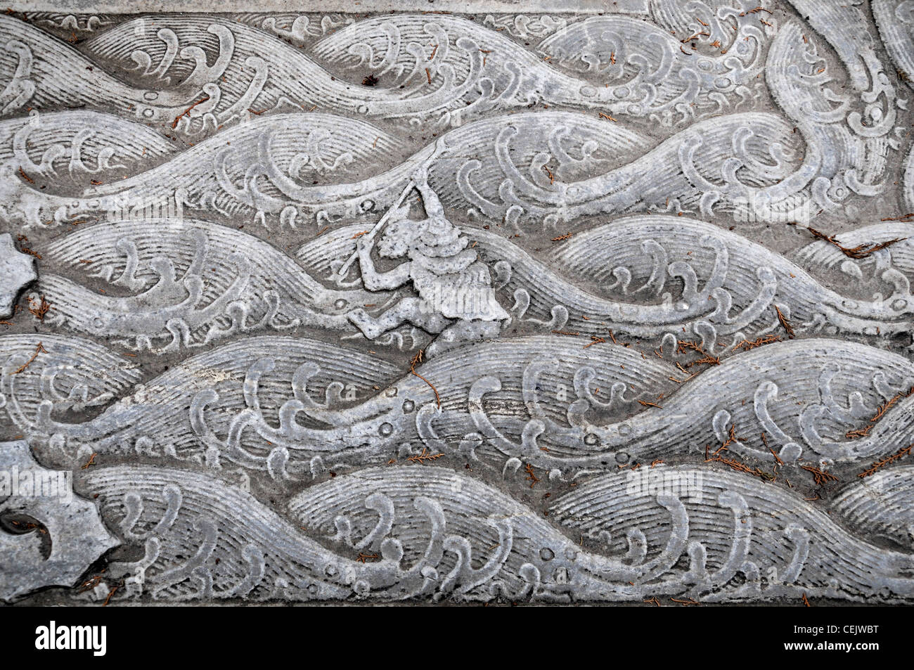 Intricate intricately carved carving stone slab bas relief