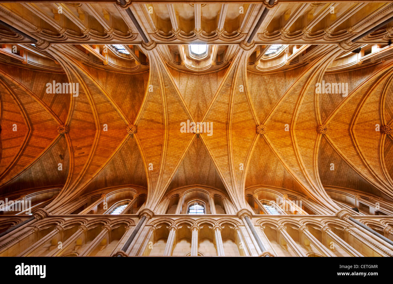 The ceiling of Southwark Cathedral. William Shakespeare is believed to have been present when John Harvard, founder Stock Photo