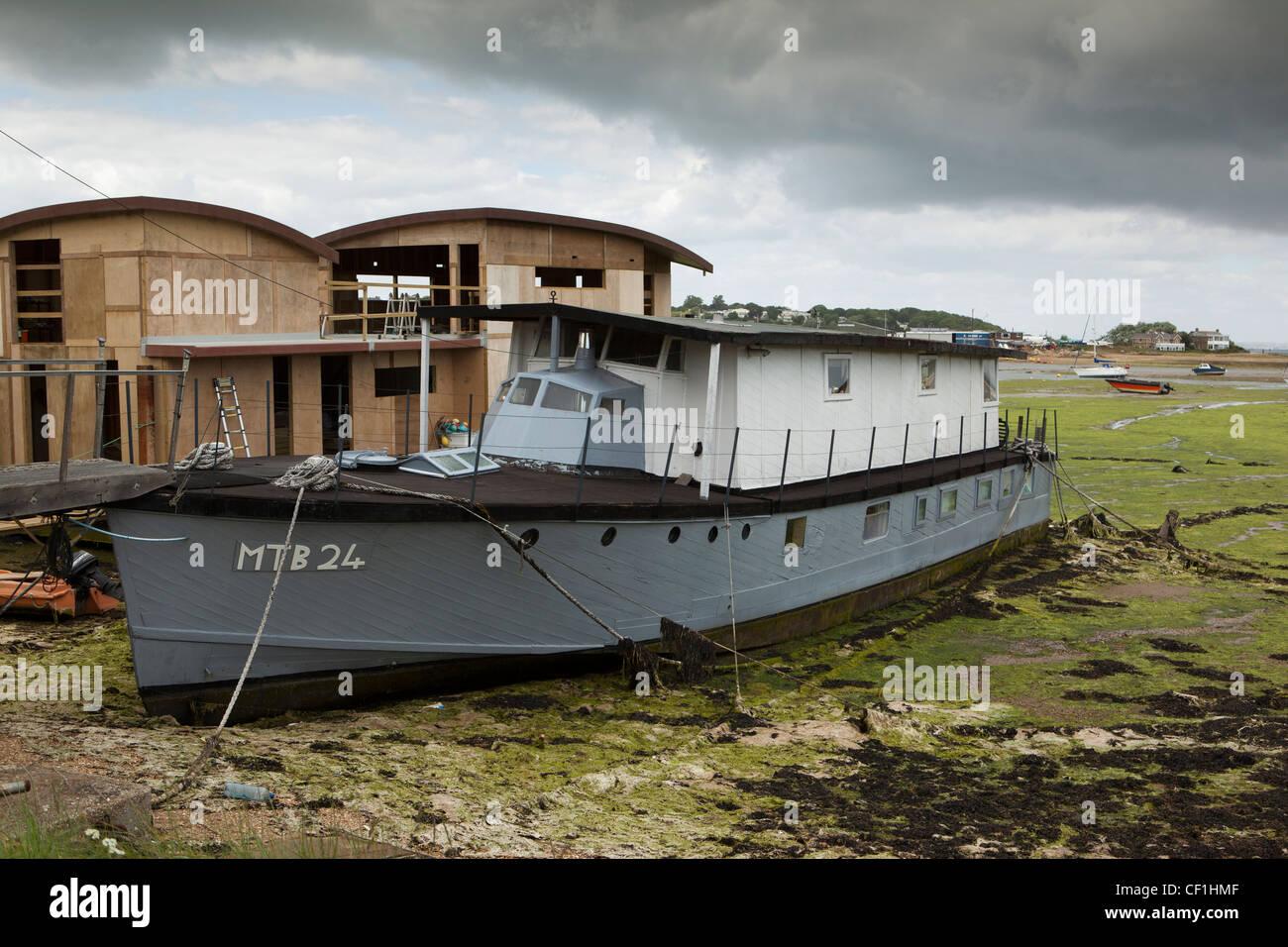 Uk England Isle Of Wight Bembridge Harbour Houseboat