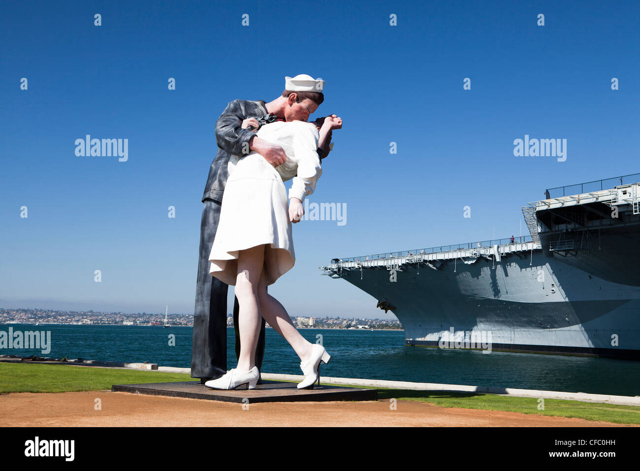 USA, United States, America, California, San Diego, City, US Midway, Theme Park, Sailor, kissing, girl, sculpture, Stock Foto