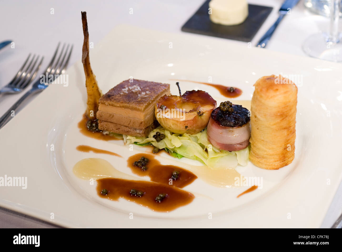 Nouvelle cuisine pork dish in a michelin star restaurant for Nouvelle cuisine