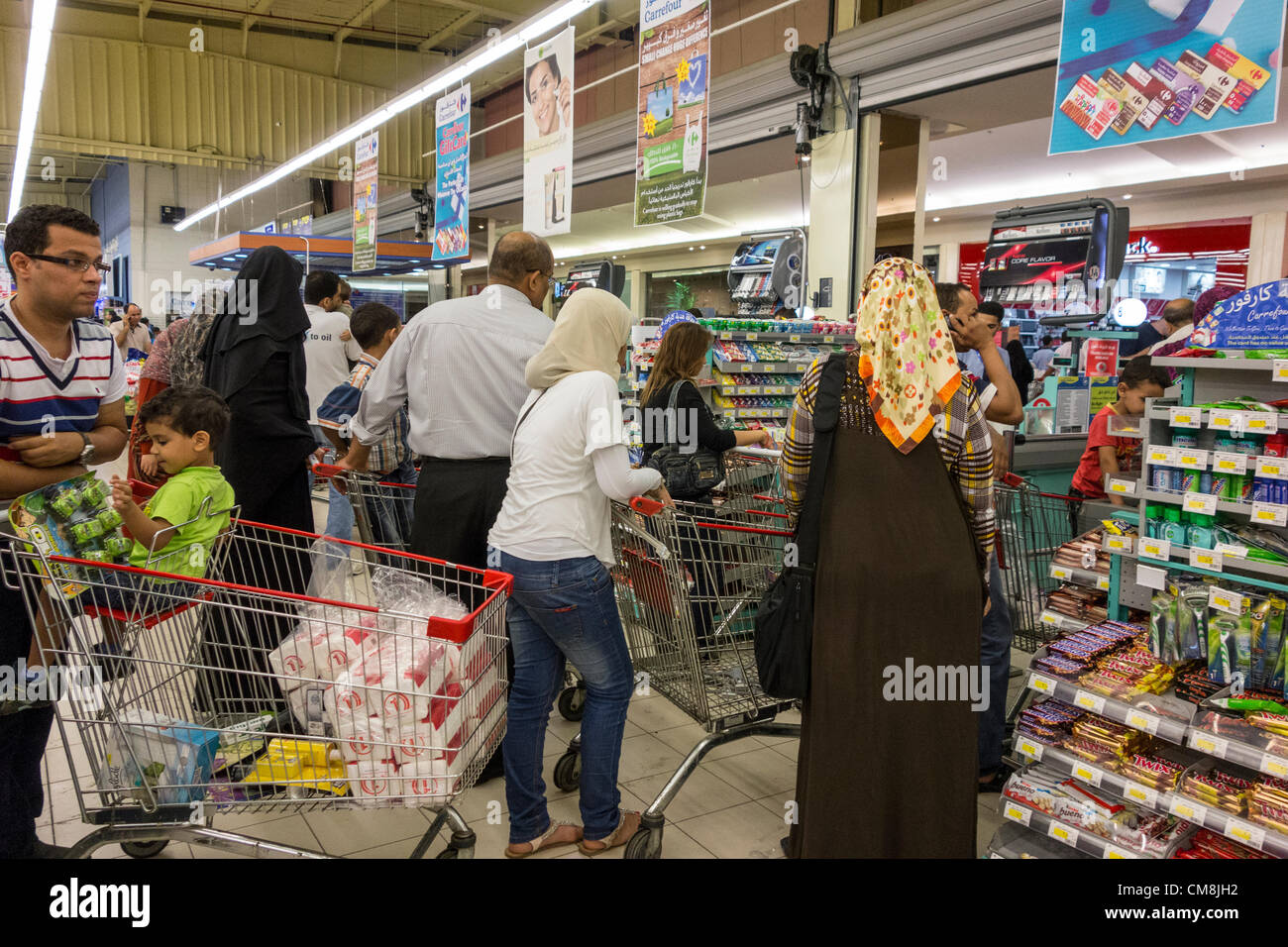 28 October 2012 Egypt Cairo Shoppers Crowding Carrefours