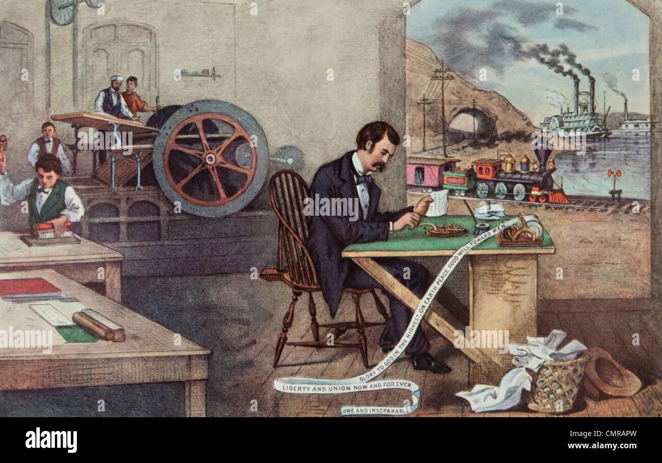 1800s CURRIER IVES PROGRESS OF CENTURY LIGHTNING STEAM ...  1800s CURRIER I...