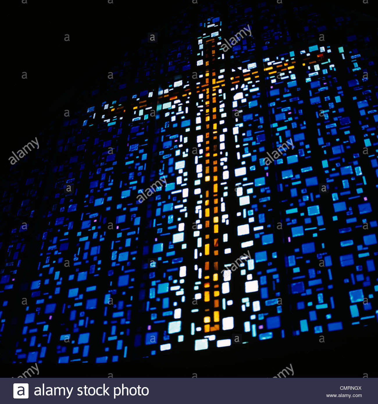 A GOLD CROSS ON BLUE BACKGROUND MADE OF SECTIONS OF A ...