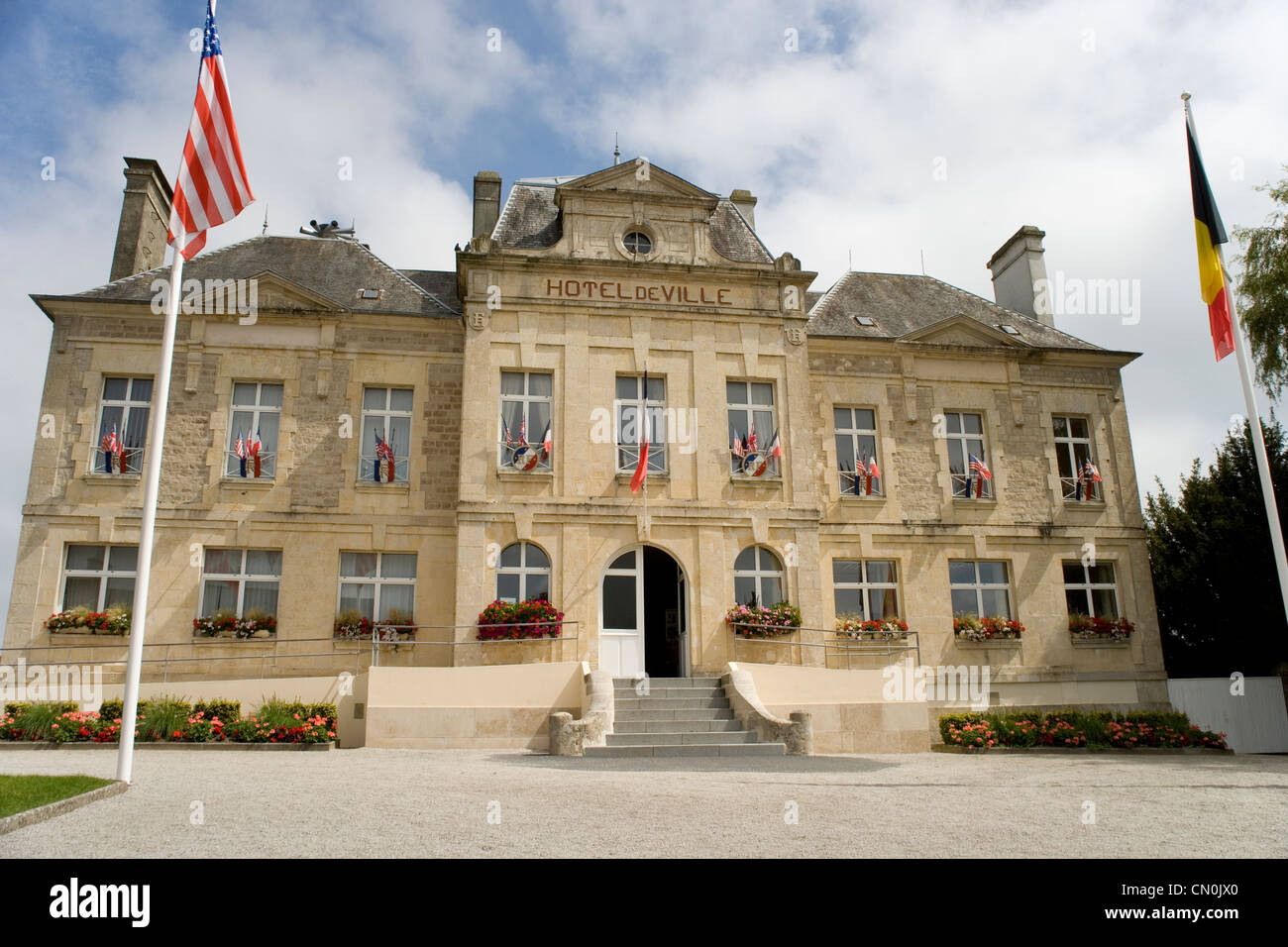hotel de ville in sainte mere eglise normandy stock photo 47343352 alamy. Black Bedroom Furniture Sets. Home Design Ideas