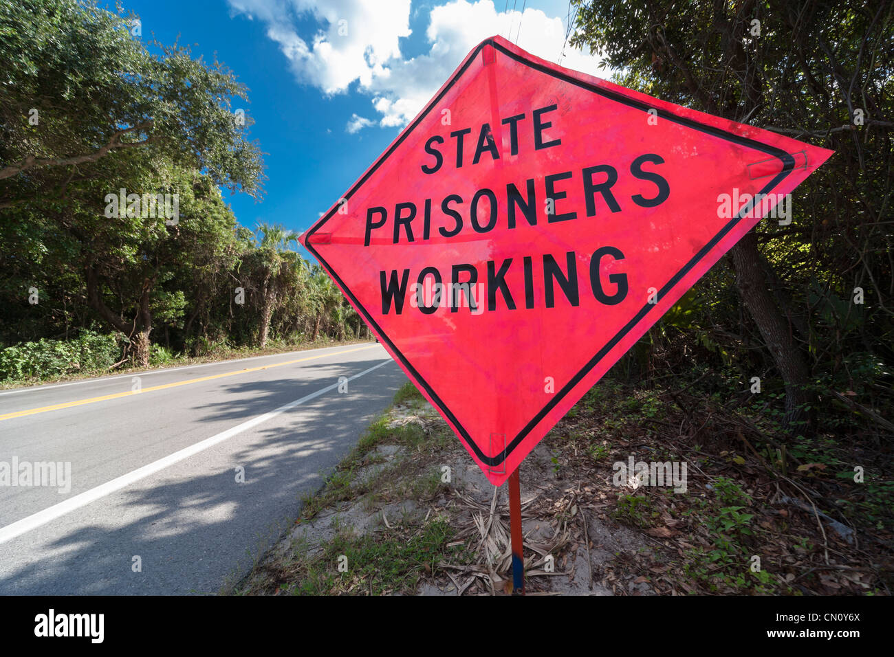http://c7.alamy.com/comp/CN0Y6X/sign-state-prisoners-working-at-work-temporary-roadside-traffic-warning-CN0Y6X.jpg