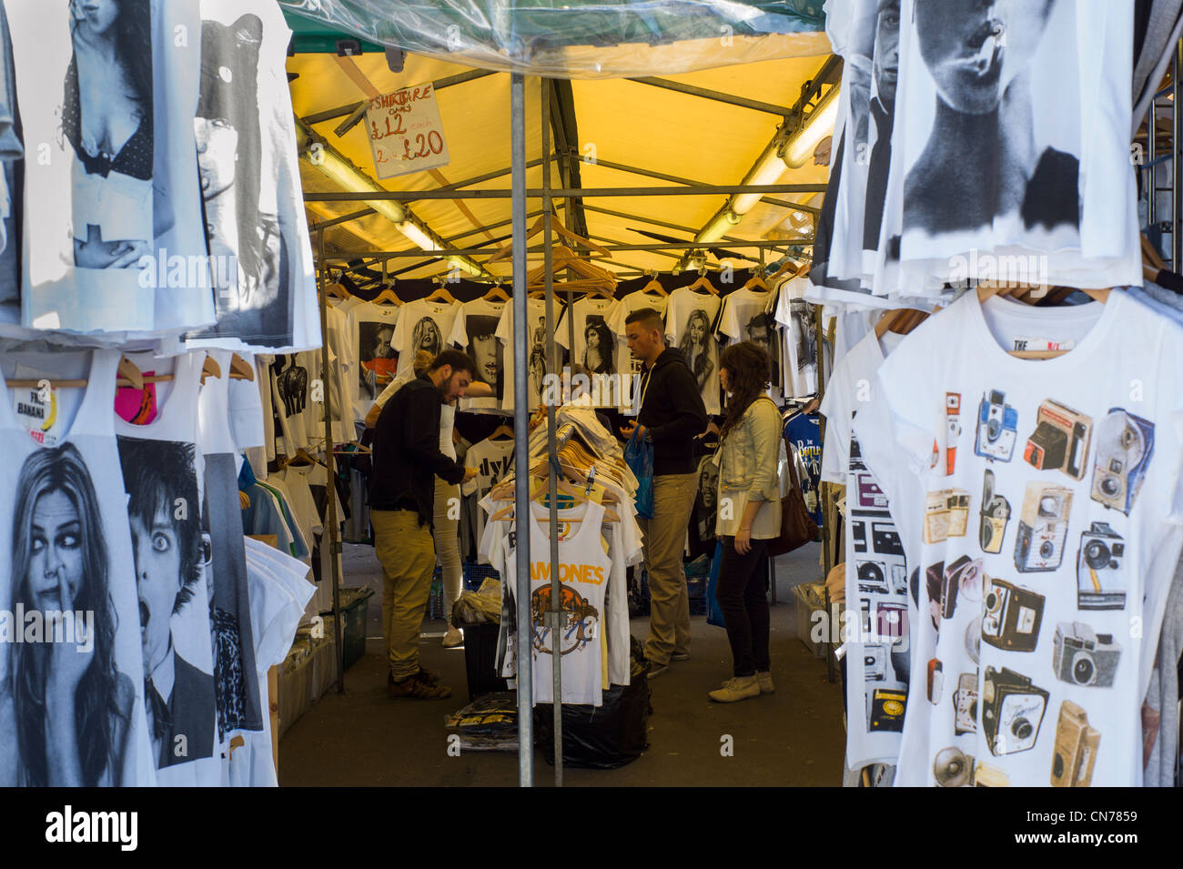 t shirt market stall in camden market camden town london england stock photo royalty free. Black Bedroom Furniture Sets. Home Design Ideas