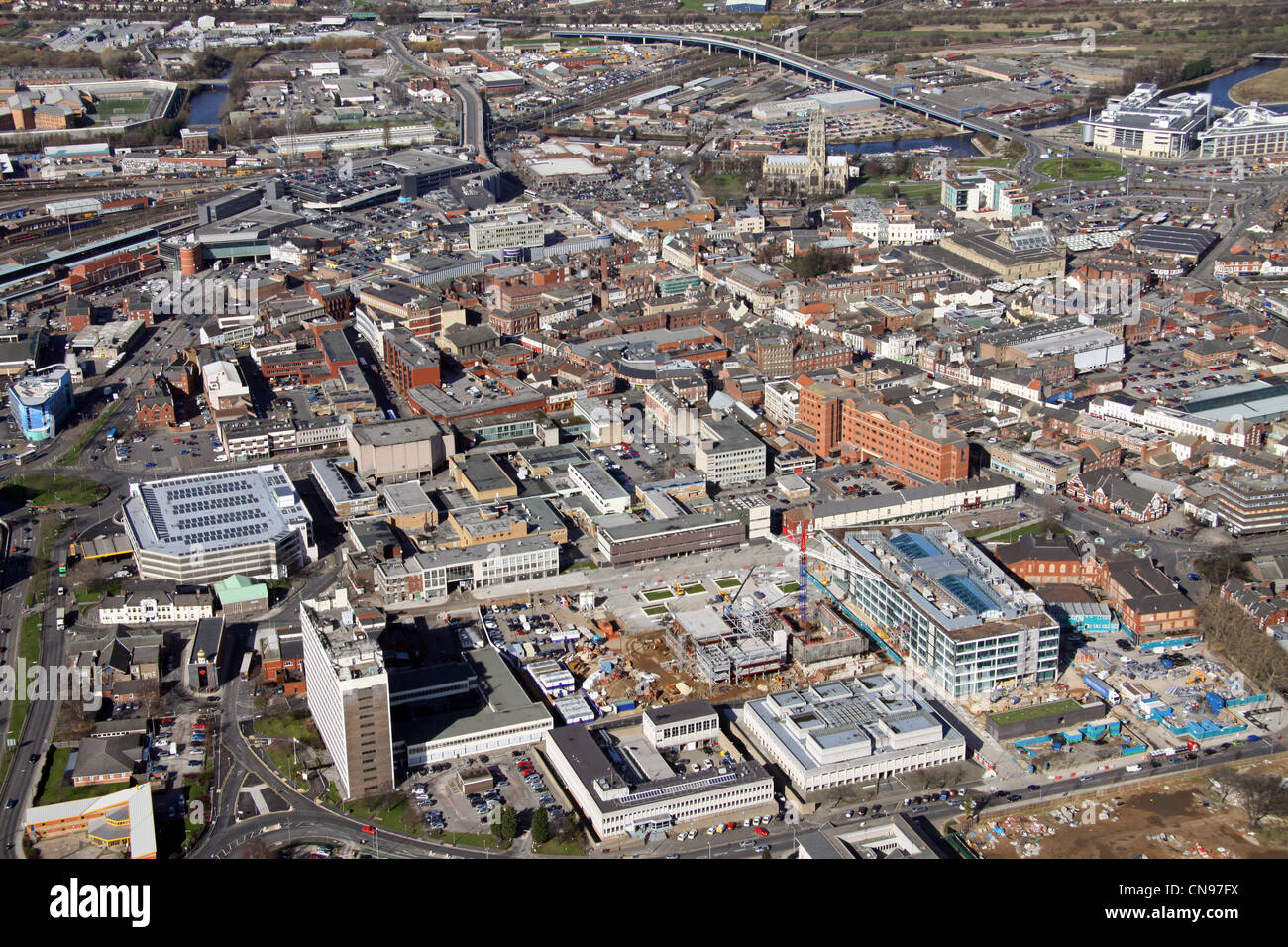 aerial view of Doncaster town centre Stock Photo, Royalty ...