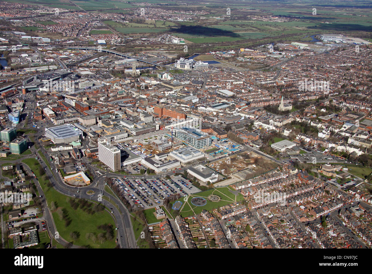 aerial view of Doncaster town Stock Photo, Royalty Free ...