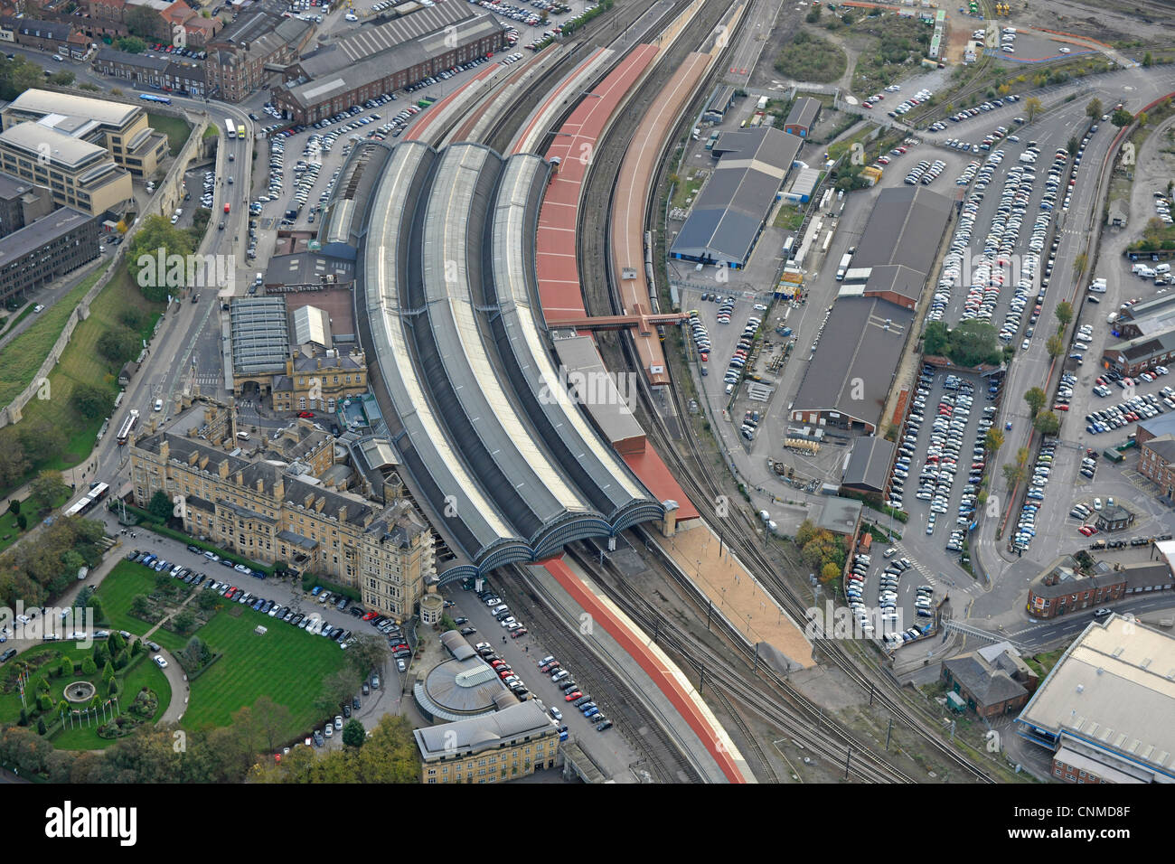 Aerial Photograph Of York City Railway Station And ...