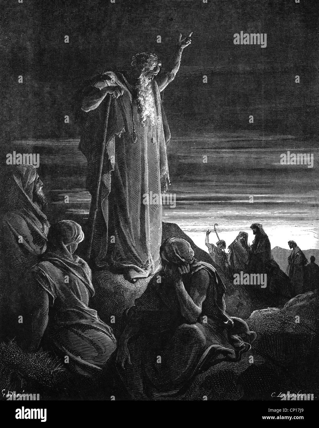 religion, biblical scenes, Ezekiel, wood engraving to the ...