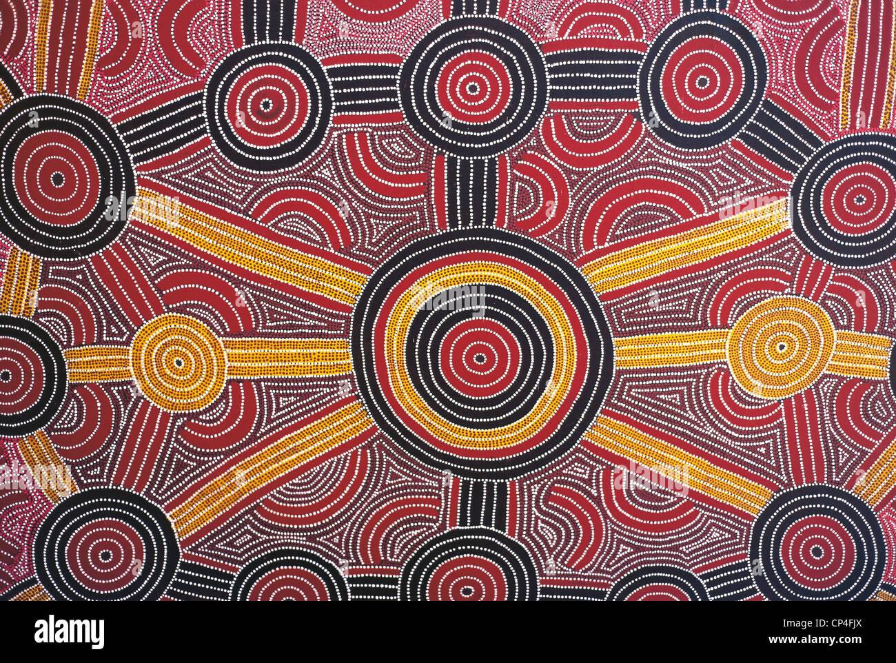 Australia - Uluru-Kata Tjuta National Park. Aboriginal painting in the hotel Sheraton. Stock Foto