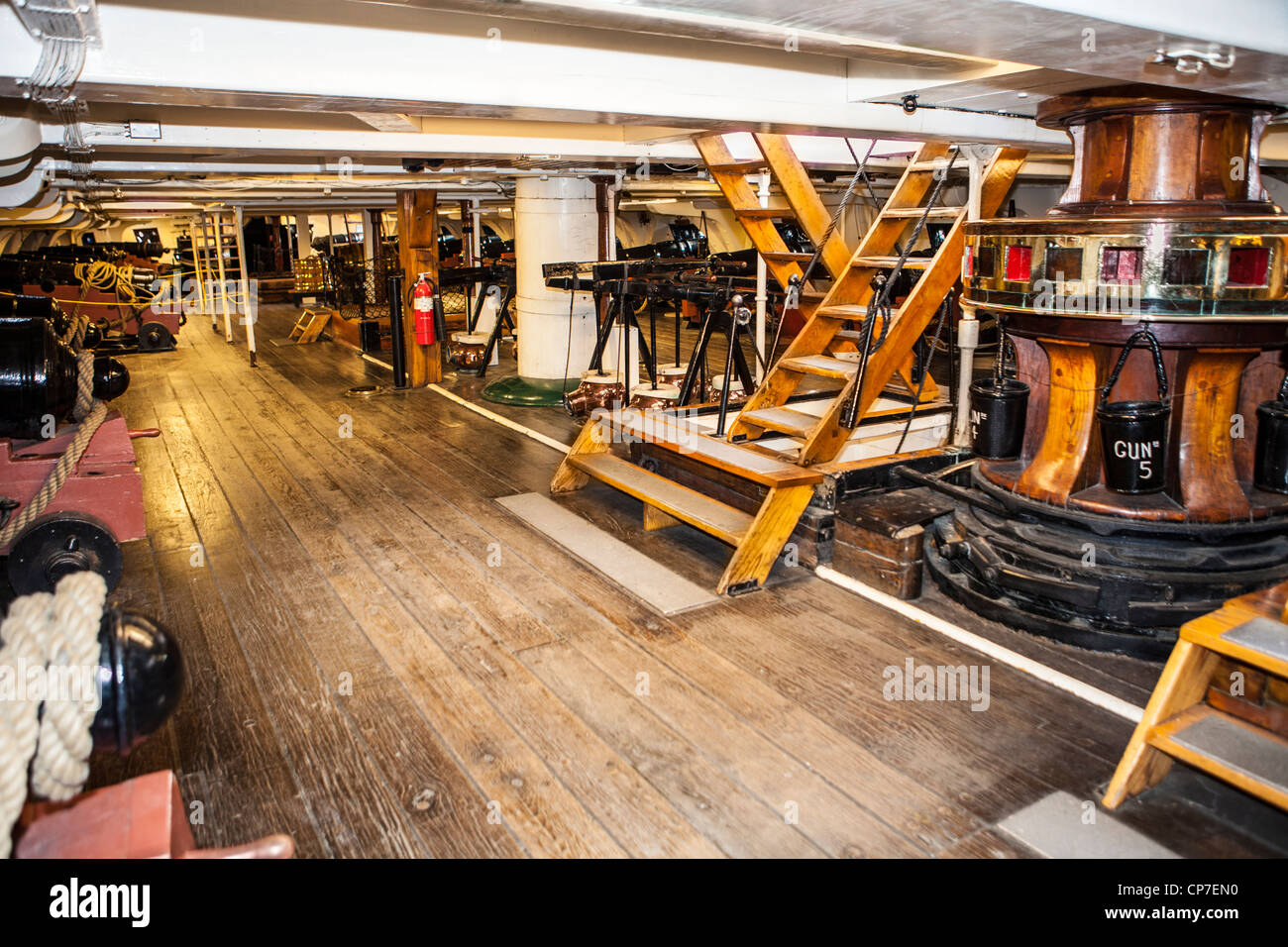 Interior Of The Uss Constitution Naval Ship In Charlestown