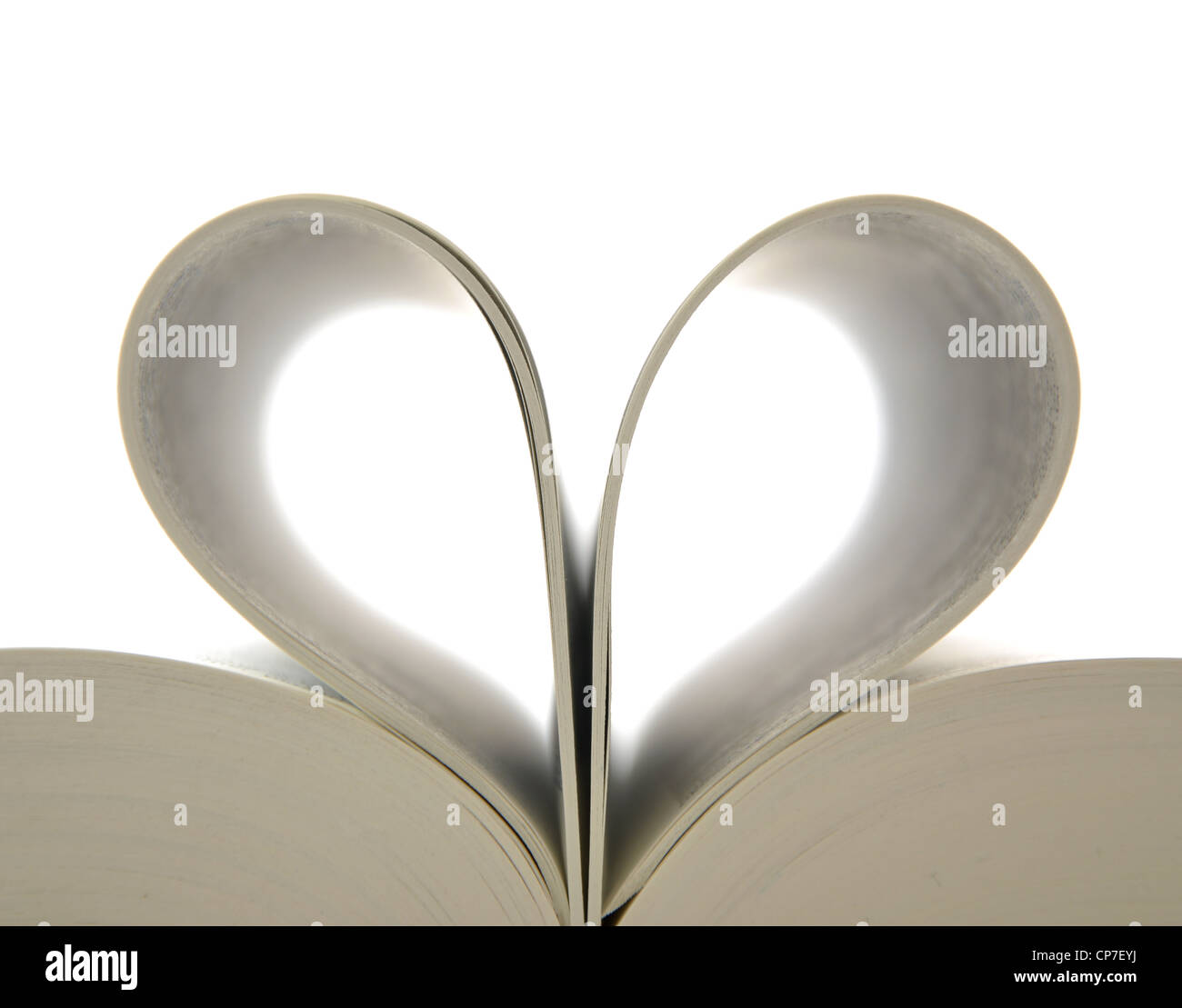 Book with opened pages and shape of heart Stock Foto