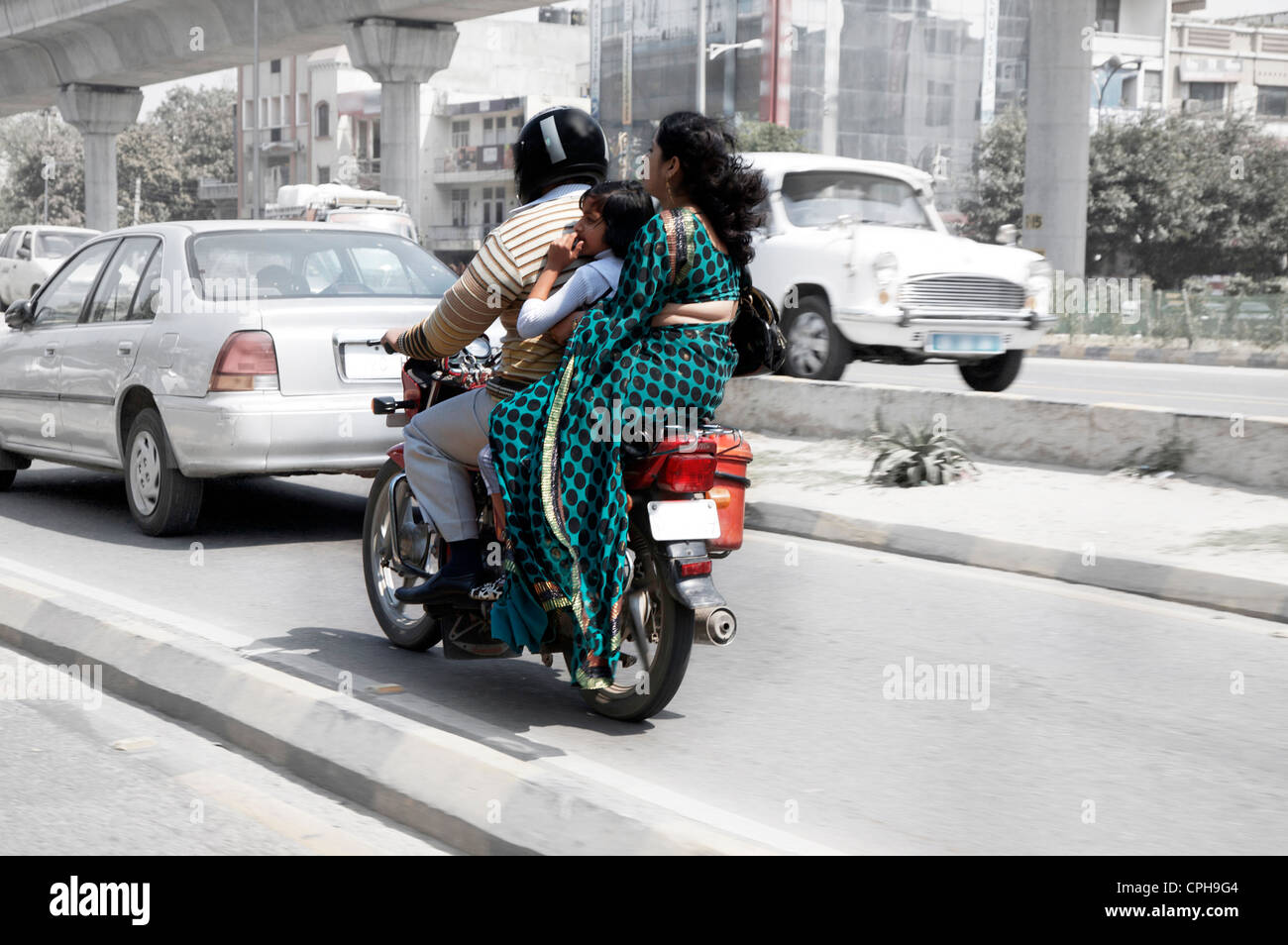 Indian Family On Motor Bike Stock Photo Royalty Free
