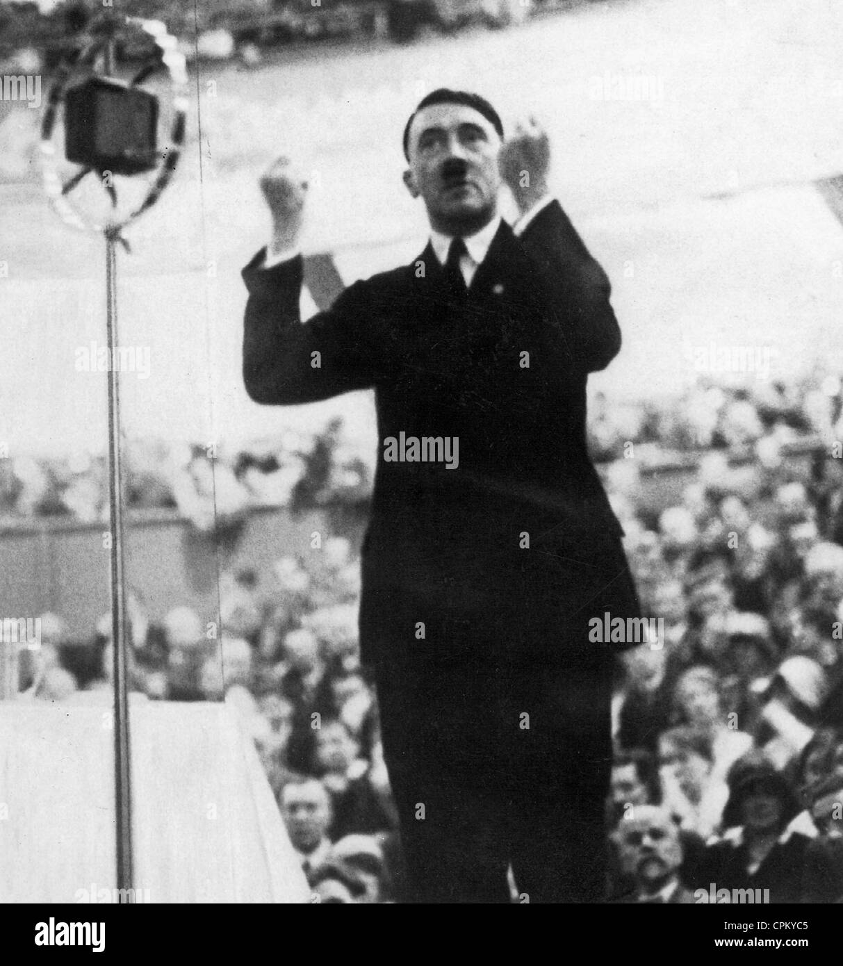 adolf hitler during a speech 1930 stock photo royalty