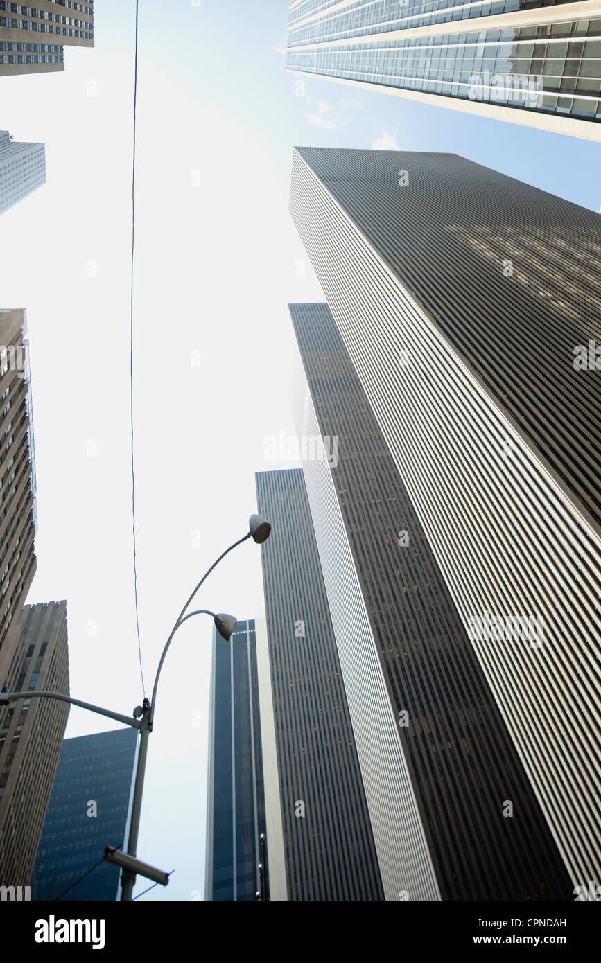 Low angle view of skyscrapers, New York City, New York, USA Stock Photo