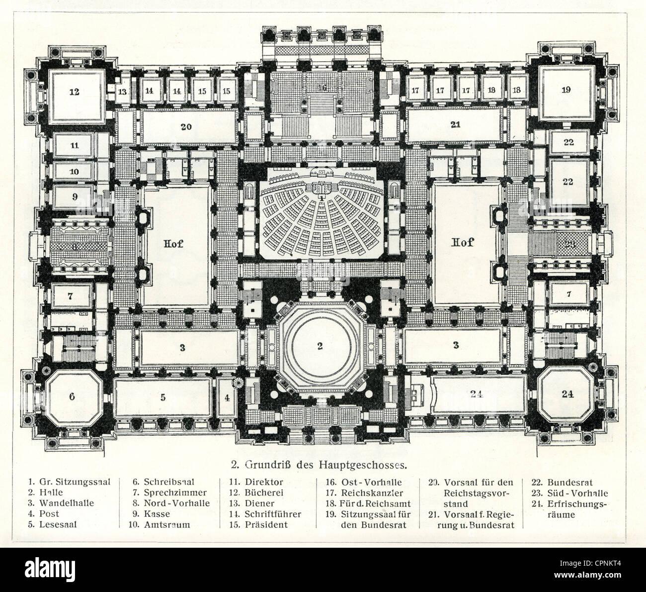 Architecture, Reichstag Berlin, Ground Plan, In The