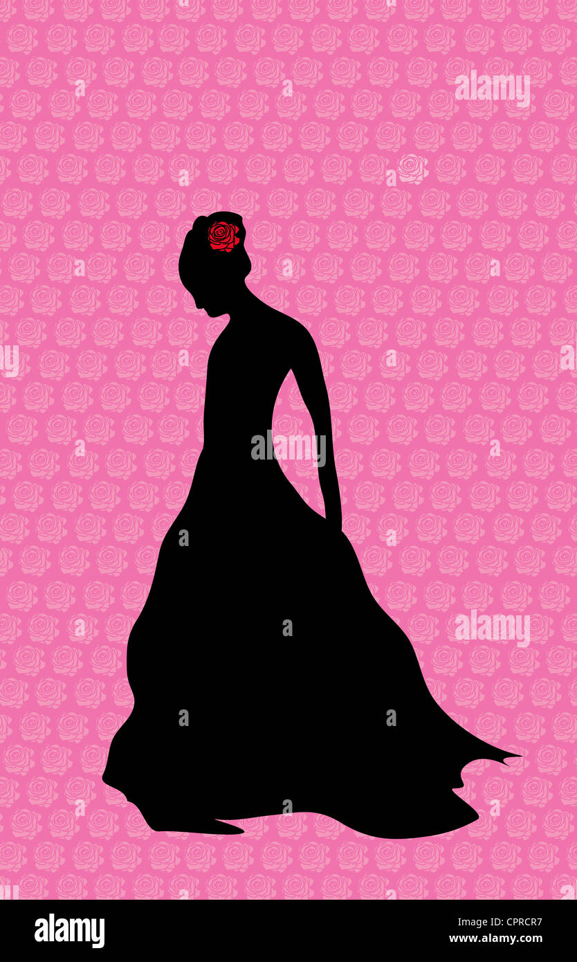 Black silhouette of a woman standing alone with a red rose in her hair. Stock Foto