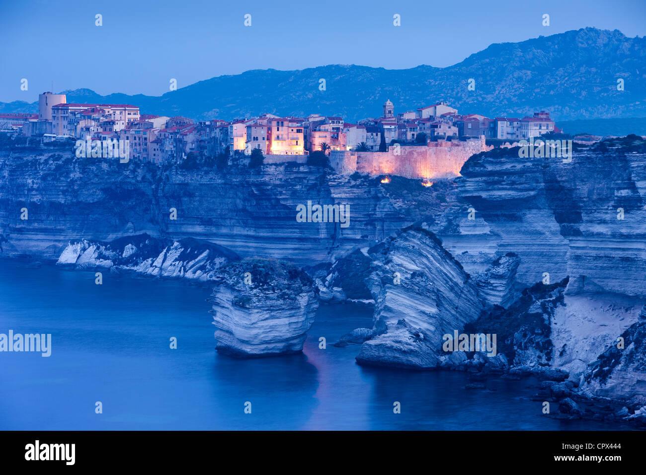 Bonifacio at dawn, Corsica, France Stock Foto