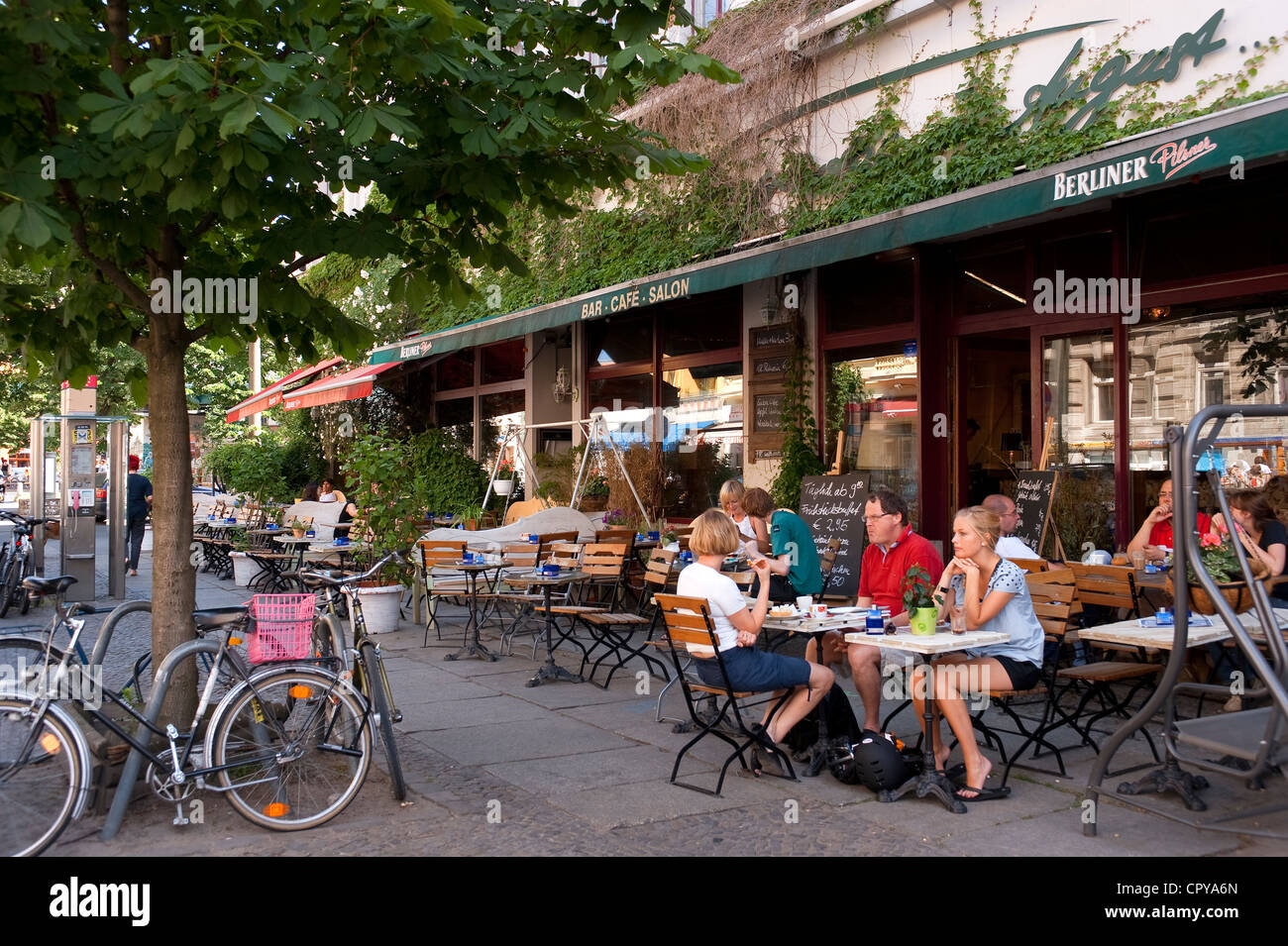 germany berlin prenzlauer berg district kastanienllee cafe stock photo royalty free image. Black Bedroom Furniture Sets. Home Design Ideas