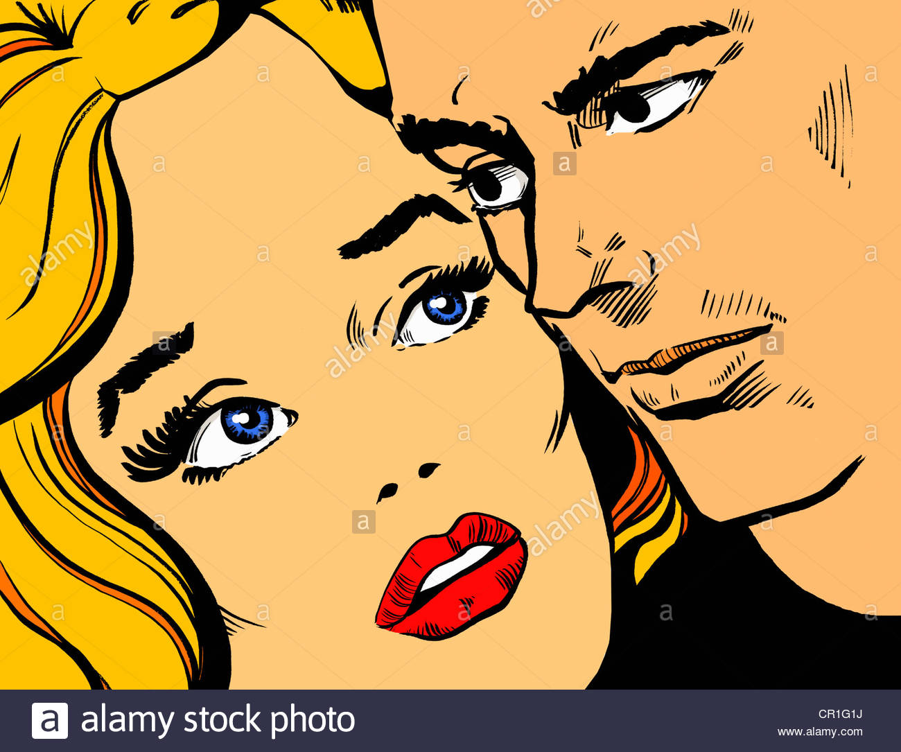 Close-up of couple's anxious faces Stock Photo