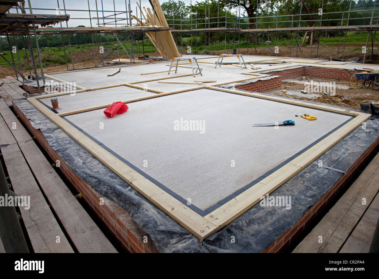 Bottom Plate To Slab : Sole plates for timber frame building laid out on